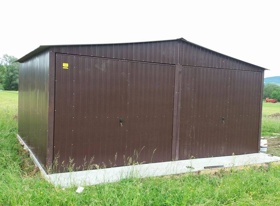garaż blaszany kolor dwie bramy